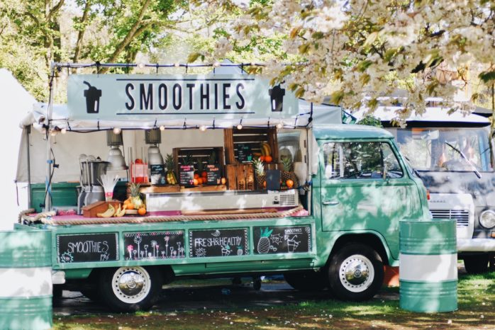 A colourful smoothie truck business